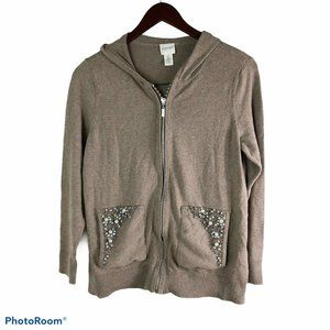 Zenergy by Chico's S Light Brown Cashmere Hoodie